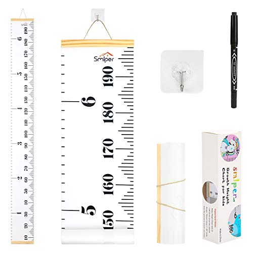 Smlper Growth Chart for Kids,Roll-up Height Chart for Boys Girls,Wood Frame Fabric Canvas Height Measurement Ruler for Kids Nursery Room,Removable Wall Decor 79