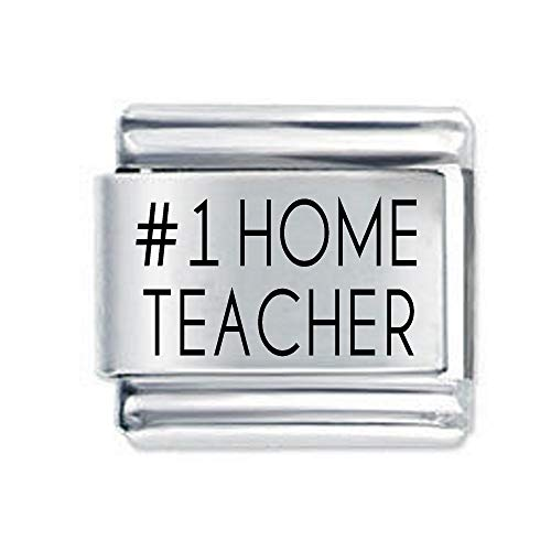 #1 Home Teacher Etched Italian Charm - fits all 9mm Italian Style Charm Bracelets Charms and Bracelets