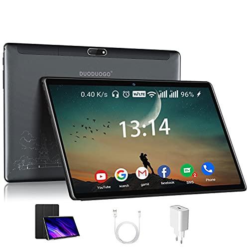 Tablet 10.1 Pollici con Wifi Offerte, DUODUOGO Tablet in offerta Android 10, Octa-Core, 4GB RAM, 64GB ROM, 128GB Espandibili, Bluetooth, Type-C, Tablet PC offerte 10 pollici wifi (grigio)