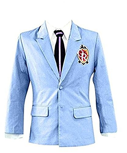 Halloween Japanese High School Uniform Costume Jackst Blazer Coat Tie Set (US Size L, Blue)