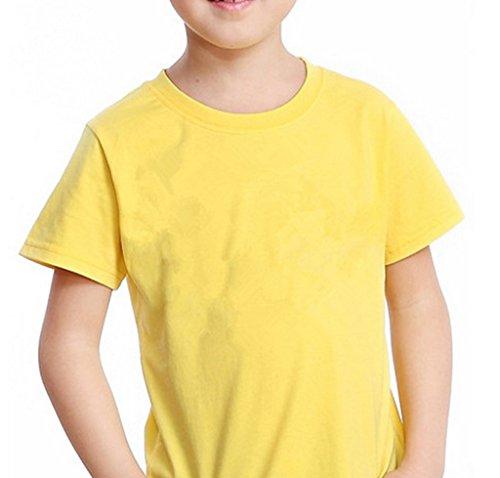 Bigood T-Shirt Enfant Fille Garçon Haut Tops Coton Chemise Col Rond Manche Courte Blouse Casual Jaune Bust 64cm