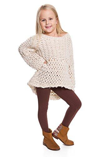 hi!mom - Kinder Winterleggings - aus Baumwolle - lang - Thermomaterial - für jedes Alter - CHILD28 - Braun - 11-12 Jahre