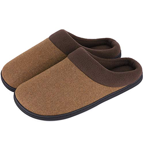HomeIdeas Men's Woolen Fabric Memory Foam Anti-Slip House Slippers, Triple Thickened Sole, Perfect for Autumn and Winter (Medium / 9-10 D(M) US, Camel)