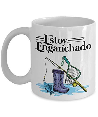 330ml Tazas té Tazas espresso Estoy Enganchado Pesca Estilo Mexicano Habla Español Pescador Abuelo Papá Marido Novio Padrinos boda Taza bebida café Regalo Vajilla Agua/Leche Hogar,Oficina
