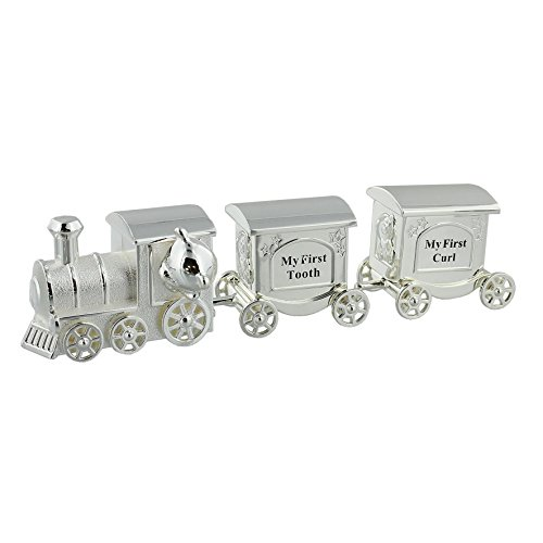 Silverplated Train First Curl & Tooth Baby Gift Set