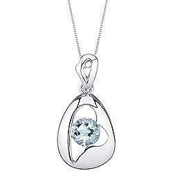 Sterling Silver Minimalist Pendant Necklace In Aquamarine Color