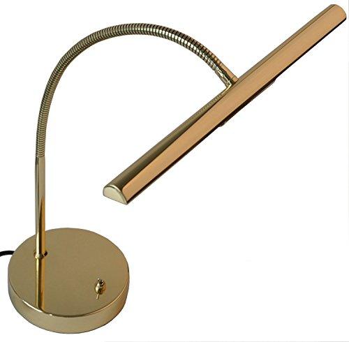 Steinbach Halogen Klavierlampe Messing poliert mit Flexarm Made in Germany