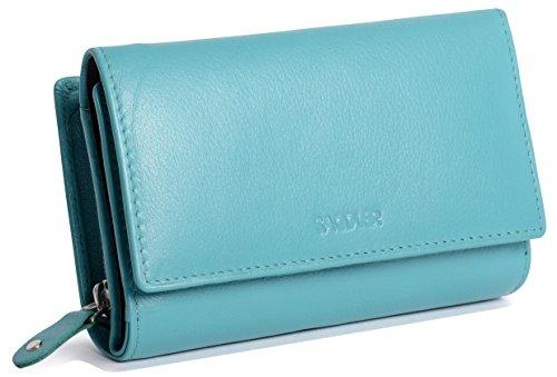 SADDLER Billetera Triple Pliegue de 14cm Para Mujeres Con Cremallera de 3 Vias y Monedero de 2 Secciones - Verde Azulado