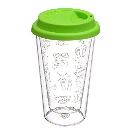 GRÄWE Gobelet isotherme à double paroi en verre 0,3 l avec couvercle vert en silicone
