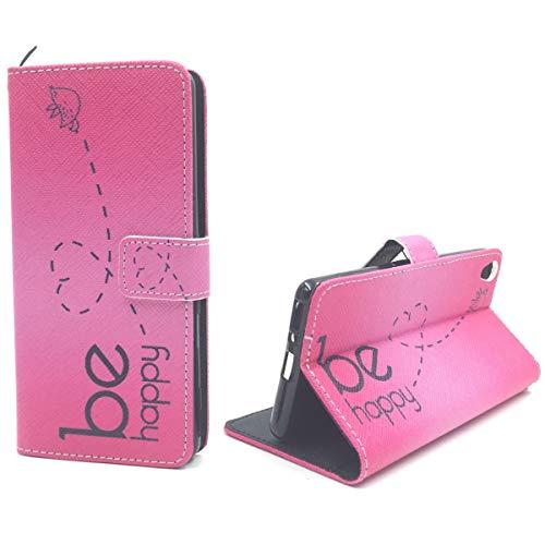 König Design Handyhülle Kompatibel mit Sony Xperia XA Handytasche Schutzhülle Tasche Flip Hülle mit Kreditkartenfächern - Be Happy Design Pink
