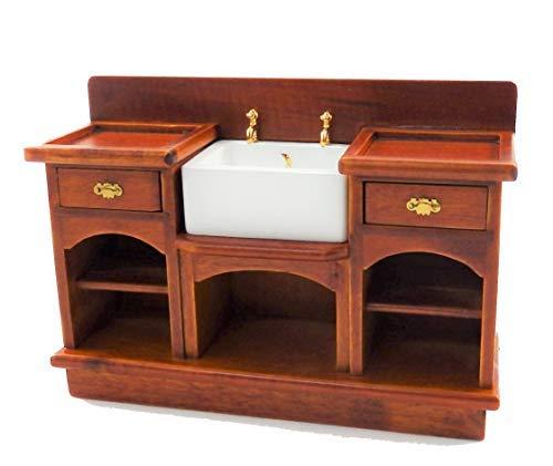 Melody Jane Casa Muñecas Nogal Victoriano Belfast Fregadero Unidad 1:12 Muebles Cocina Miniatura