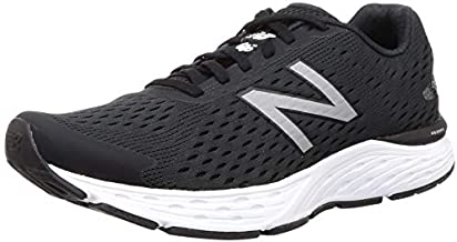 New Balance Men's 680v6 Cushioning Running Shoe, Black/Silver Metallic/White, 8 D US