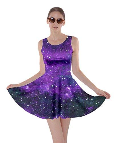 CowCow Womens Purple Space Skater Dress, Purple - L