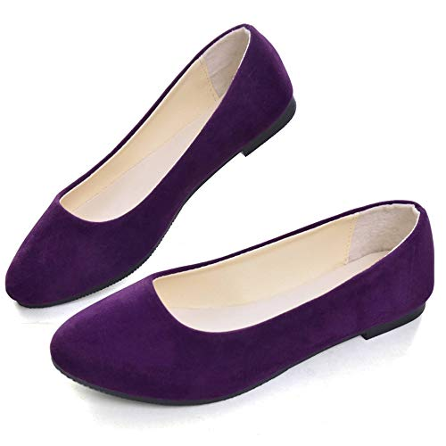 Dear Time Women Flat Shoes Comfortable Slip on Pointed Toe Ballet Flats US 8.5 Purple