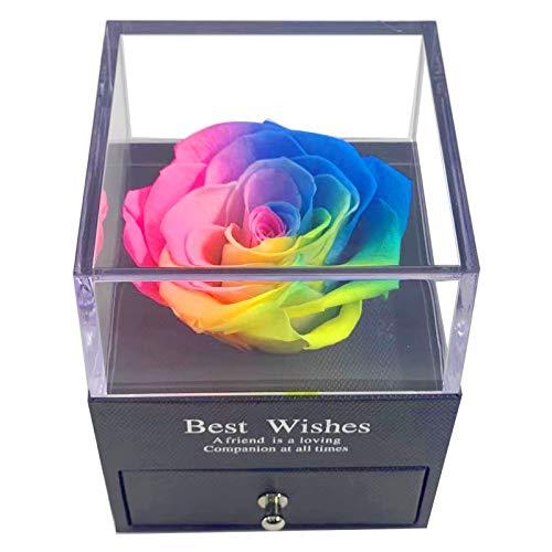 MINCHEDA Rosa Eterna Real Preservada Caja de Regalo para Joyería Regalos Originales para Mujer para Día de San Valentín, Aniversario, Cumpleaños