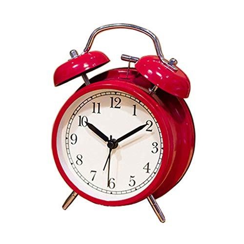 ZCZZ Reloj de Mesa Reloj Despertador de Cuarzo mecánico de Metal Dial con luz de Fondo Reloj Despertador Perezoso de Cama Reloj de Mesa Negro/Rojo