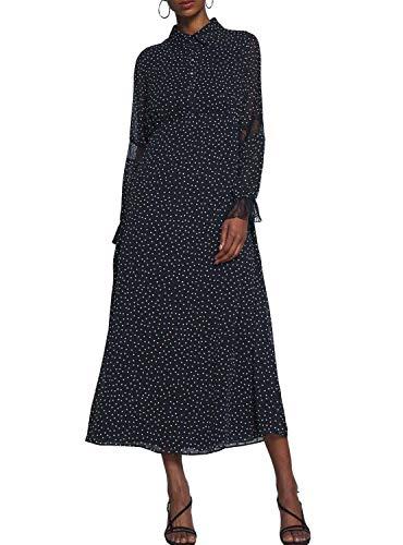 Naf Naf Vestido Topos Negro para Mujer