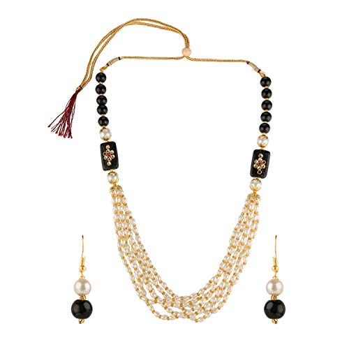 Efulgenz Indian Bollywood Multi Layered Faux Black Pearl Beads Bridal Strand Necklace Earrings Wedding Jewelry Set for Women
