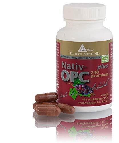 OPC premium Plus nach Dr. med. Michalzik, 450 mg Extrakt aus Vitis vinifera, 240 mg OPC, 50 mg reines CamuCamu Extrakt, enthält die wichtigen OPCs ProCyanidin B1, B2, C1 je Kapsel - ohne Zusatzstoffe, 72 vegane Kapseln