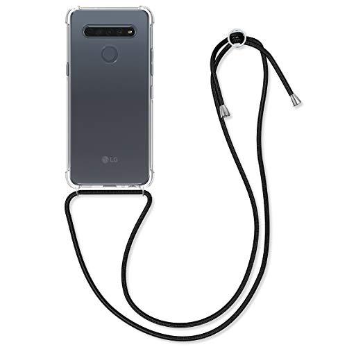 kwmobile Necklace Hülle kompatibel mit LG K61 - Hülle Silikon mit Handykette - Band Handyhülle Transparent