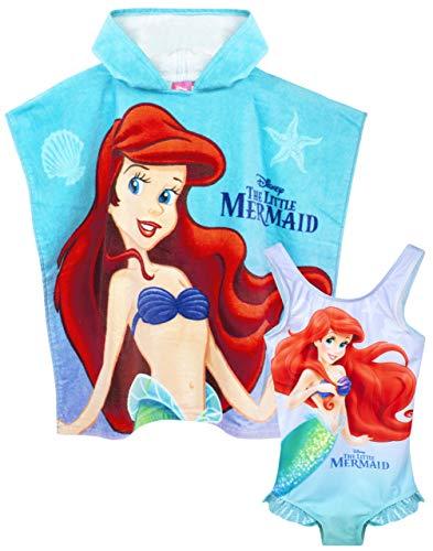 Disney Set Poncho Costume da Bagno e Asciugamano con Cappuccio Sirenetta 5-6 Anni