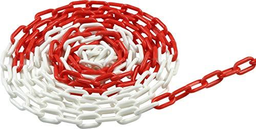 Meister Absperrkette 5 m x 6 mm - rot / weiß - UV-beständig & frostresistent - Für den dauerhaften Außeneinsatz - Aus Polyethylen / Gliederkette / Baustellensicherung / Absperrungskette / 4520050