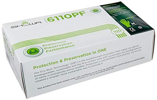 Showa 6110PF Biodegradable Disposable Powder Free Nitrile Glove, Medium (1 Box)