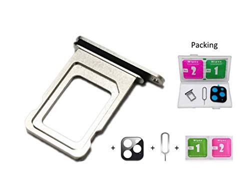 Real 11 Pro Single/Dual SIM Card Tray Slot Holder Adapter with Rubber Waterproof Gasket Ring for iPhone 11 Pro 11Pro +Camera Glass Case +Eject Pin (11Pro Silver, Single SIM Edition)