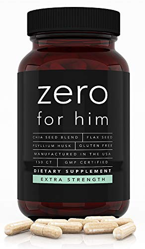 Extra Strength Zero for Him 150 Caps, Dietary Fiber Supplement, 1500mg Vegan Fiber Pills, Chia, Flax Seed & Psyllium Husk Fiber Capsules with Aloe Extract, Strong Daily Fiber Supplements for Men