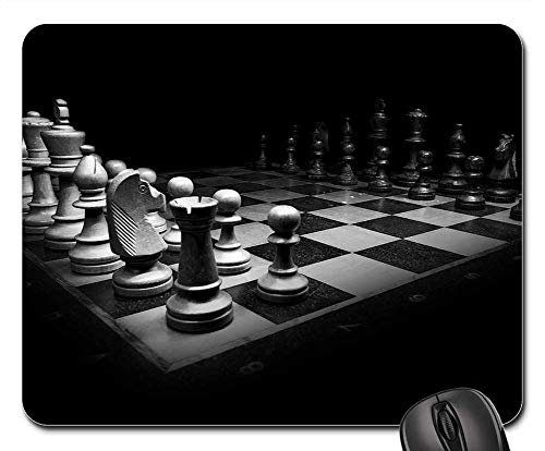 Mouse Pad - Chess Black White Chess Pieces King Chess Board