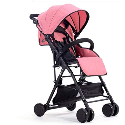 Carritos y sillas de Paseo Cochecito de bebé Plegable Ultraligero Se Puede sentar Reclinando Niño Alto Paisaje Paraguas de bebé Cochecito de niño Bebé Sillas de Paseo (Color : Pink)