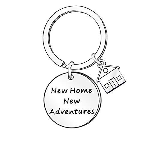 """Portachiavi con scritta """"New Home Adventures"""" per il proprietario della casa, regalo per la casa"""