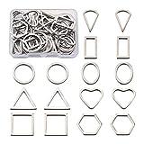 Beadthoven - 40 anillos de acero inoxidable 304, 8 estilos, mini corazón, forma de lágrima, triángulo, colgantes...