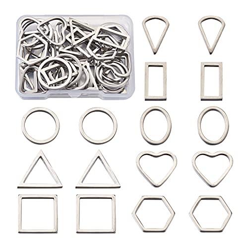 PandaHall 40 anillos de unión de acero inoxidable con forma de lágrima cuadrada y triángulo para hacer joyas