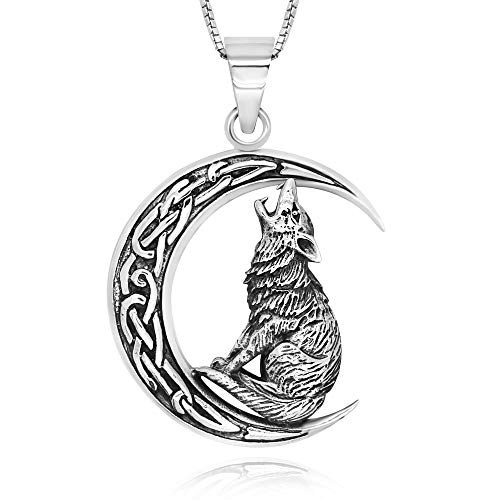 925 Sterling Silver Celtic Crescent Moon Wolf Pendant Necklace, 18'