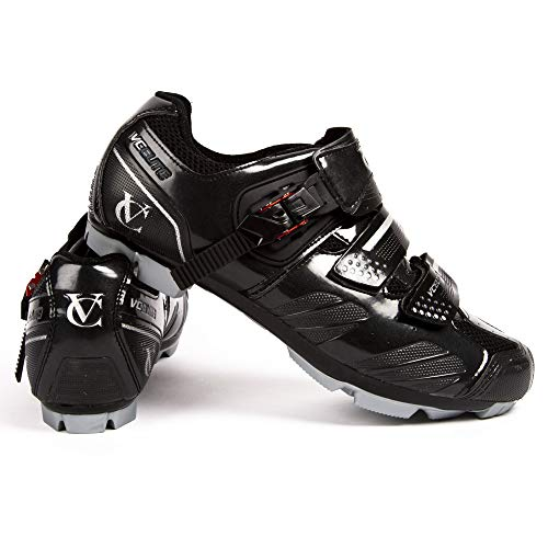 VeloChampion Elite SPD MTB Cycling Shoes For Men Women Ideal For Mountain, Cyclo Cross Country XC Bikes in Black/Silver (Size 45)