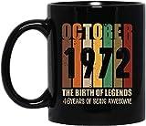 N\A Taza de café Retro Vintage de Octubre de 1972 Taza de Regalos de cumpleaños número 46 - Taza de cerámica Negra