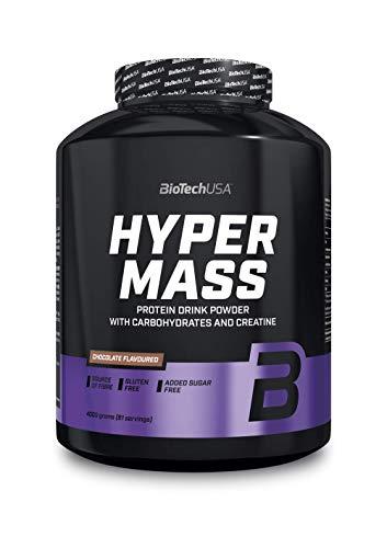 BioTechUSA Hyper Mass Polvere proteica ricca in fibre alimentari, con carboidrati, proteine e creatina, 4 kg, Cioccolato