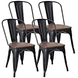 JUMMICO Metal Dining Chair Stackable Industrial Vintage Kitchen Chairs Indoor-Outdoor Bistro Cafe Side Chairs with Back and Wooden Seat Set of 4 (Gold Black)