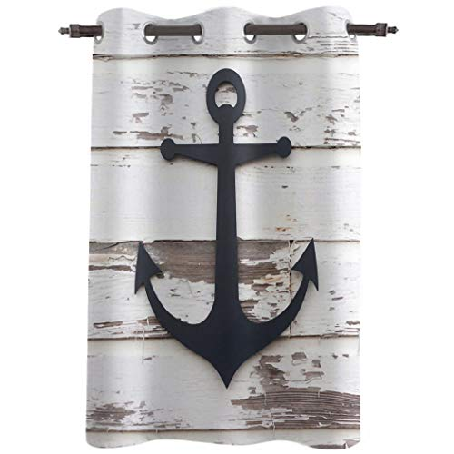 """Window Curtains Drapes - 36inch Length Curtain Panels Treatments for Kitchen Living Room Nautical Anchor,52"""" Wide Grommet Top Thermal Insulated Bedroom Darkening Curtain,Adventurous Marine Rustic Wood"""