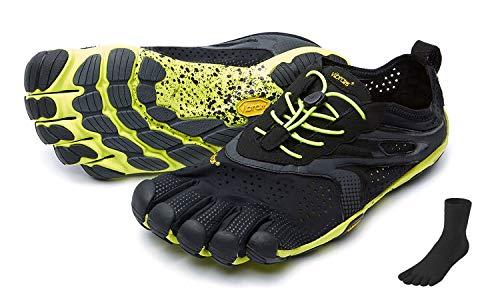 FiveFingers Vibram V-Run Men S E T – Zapatillas de dedos para hombre, para correr, fitness, ocio, incluye un par de calcetines, color Negro, talla 42 EU