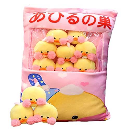 TNSYGSB Almohada de vaca de fresa, juguetes de animales de peluche extraíbles pato esponjoso regalos creativos para adolescentes niñas, aproximadamente 45 cm plushies kawaii