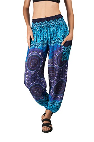 JOOP JOOP Bohemian Elephant Harem Loose Yoga Travel Lounge Festival Beach Pants,Indigo,Small / Medium