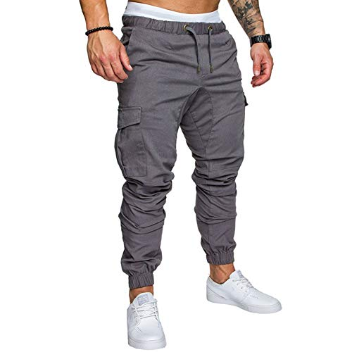 lexiart Mens Fashion Joggers Sports Pants - Cotton Cargo Pants Sweatpants Trousers Mens Long Pants Lightgrey 2X-Large