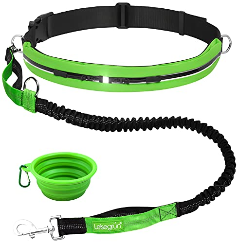 Leisegrün Joggingleine für Hunde - Hundeleine zum Joggen mit Bauchgurt und Ruckdämpfer - Für große Hunde bis 55 kg, 120 cm bis 170 cm, grün