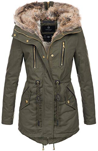 Navahoo warme Damen Winter Jacke lang Teddyfell Winterjacke Parka Mantel B648 [B648-Diamond-Grün-Gr.S]