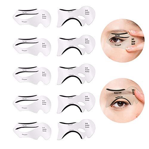 GL-Turelifes - Kit de 24 plantillas para crear estilos diferentes de cejas y 10 plantillas para delinear los ojos, utensilios de maquillaje, reutilizables, fáciles de limpiar y flexibles
