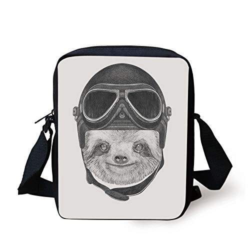 Sloth,Hand Drawn Portrait of a Sloth with Vintage Helmet Airman Biker Animal...