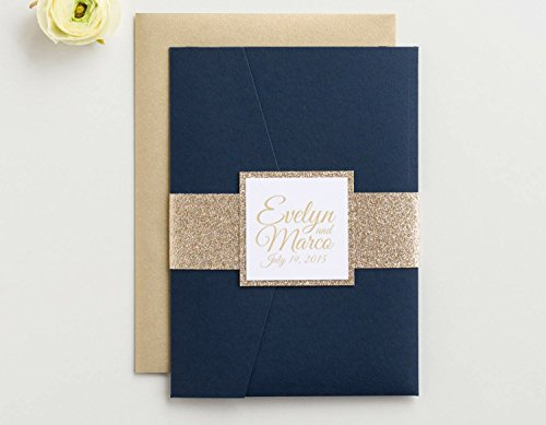 Custom Glitter Pocket Folder Wedding Invitation with RSVP and Envelopes, Evelyn Sample