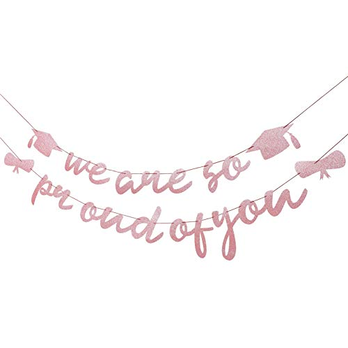 Gadpiparty Graduation Banner We Are So Proud On You Sign Banner Congrats Grade Bunting Garland Senior High School 2021 Graduation Party Favour Pack of 2
